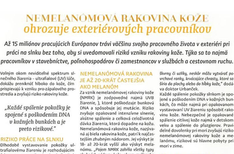 Nemelanómová rakovina kože ohrozuje exteriérových pracovníkov